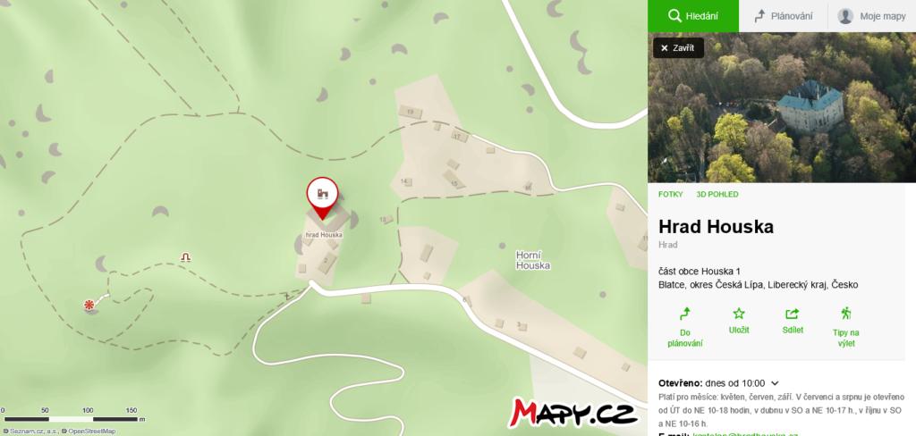 mapa Hradu Houska