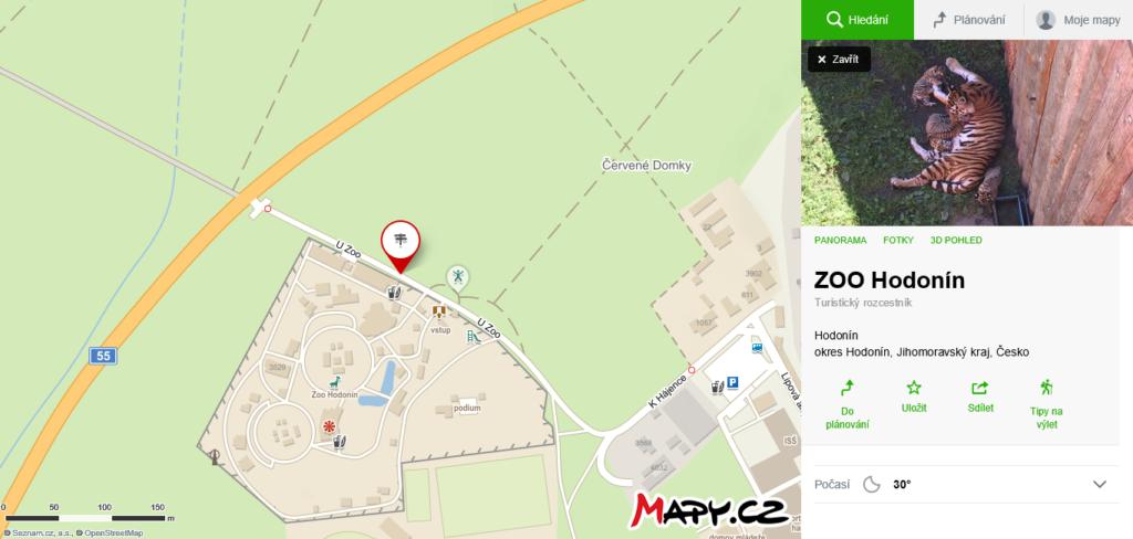 mapa ZOO Hodonín