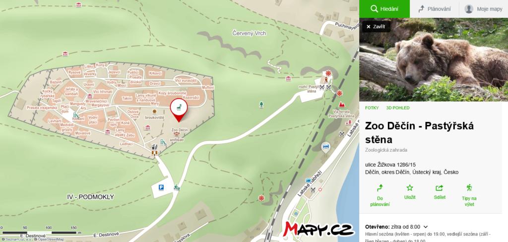 mapa ZOO Děčín