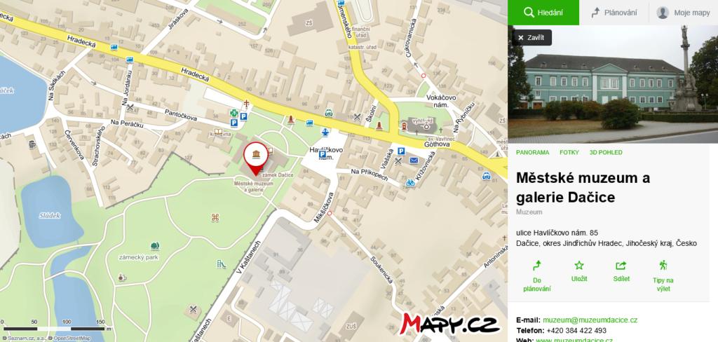 mapa Městské muzeum a galerie Dačice