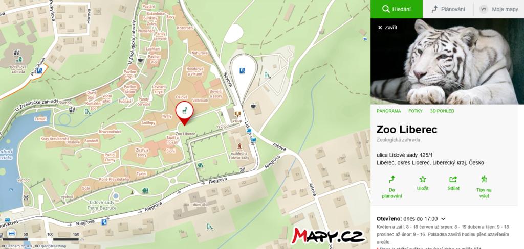 Mapa areálu ZOO Liberec