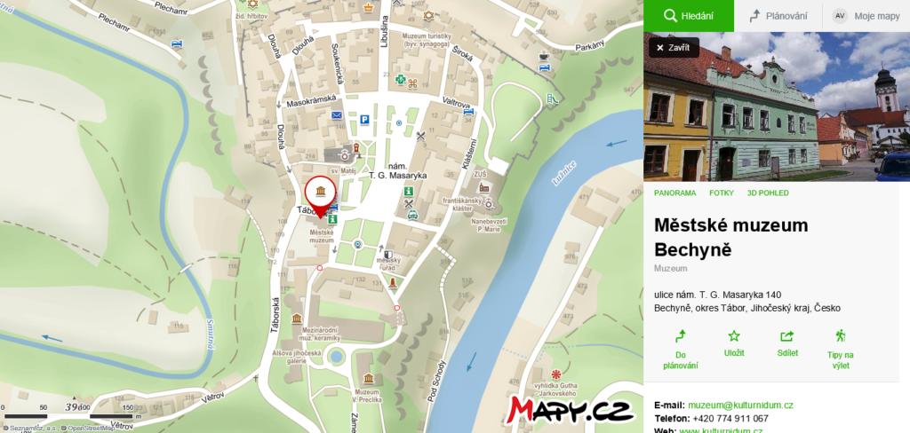 mapa Muzeum Bechyně