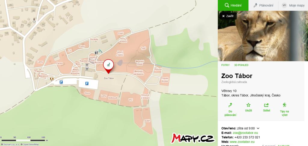 mapa ZOO tábor