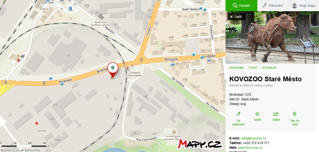 mapa KOVOZOO Staré Město