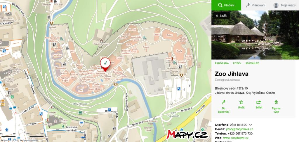 mapa Zoo V Jihlavě