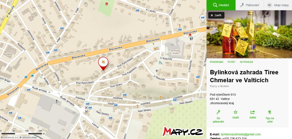 mapa Bylinková zahrada Valtice