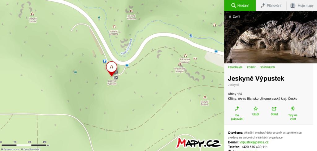 mapa Jeskyně