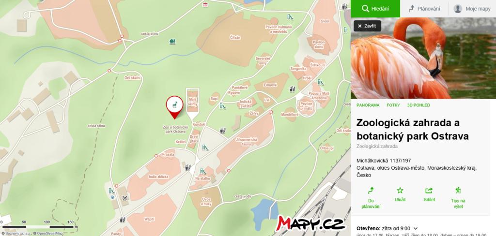 mapa Zoo v Ostravě