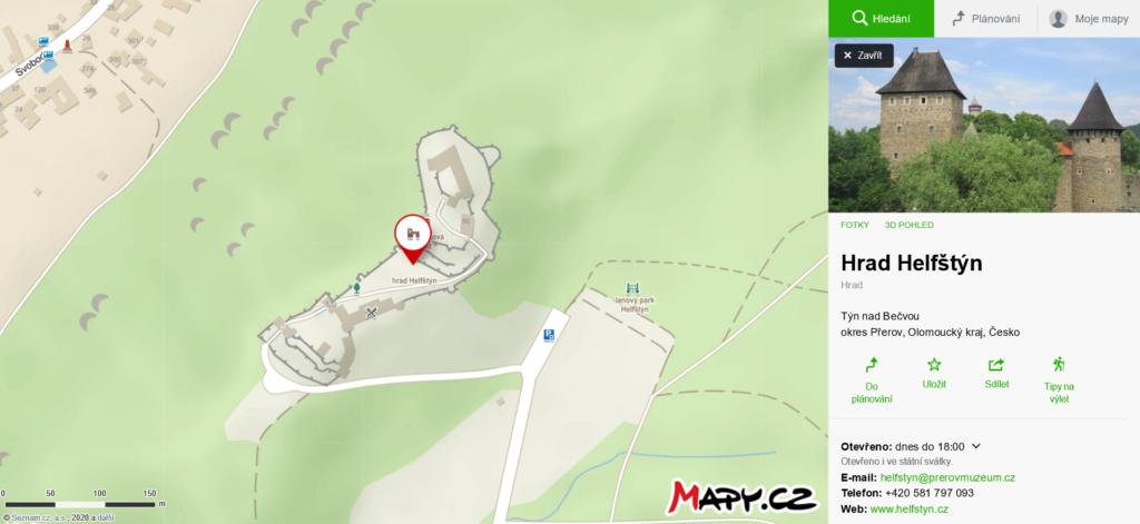 mapa Helfštýn