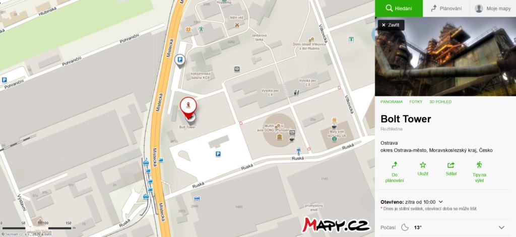 mapa Bolt Tower