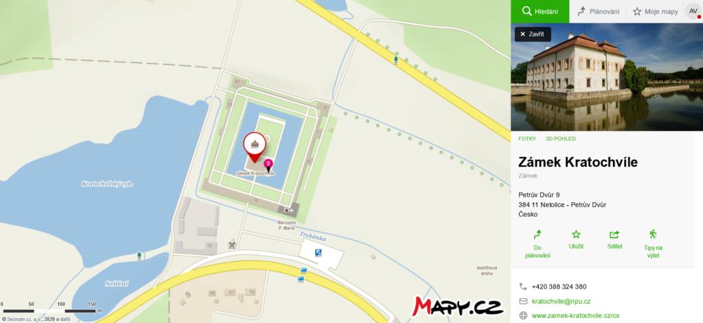 mapa jak se dostanete na zámek Kratochvíle